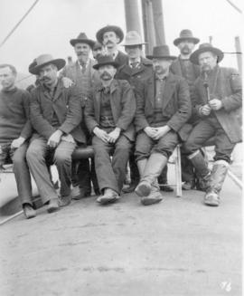"[Men on the deck of the steamer ""James Domville"" on their way to the Klondike]"