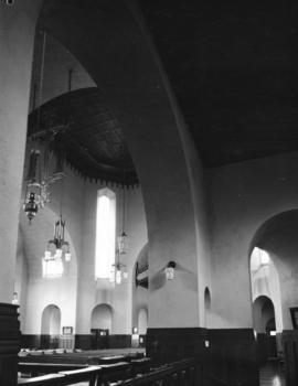 [Arched ceiling, chandeliers, pews], St. James' Church [303 East Cordova Street]