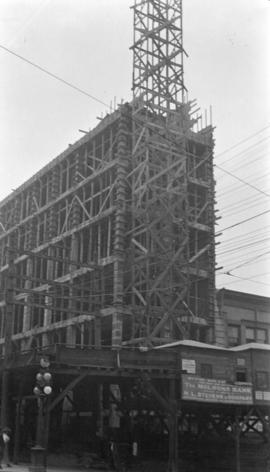 [Molson Bank Building under construction on the northeast corner of Seymour Street and Hastings S...