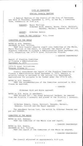 Special Council Meeting Minutes : Sept. 4, 1975