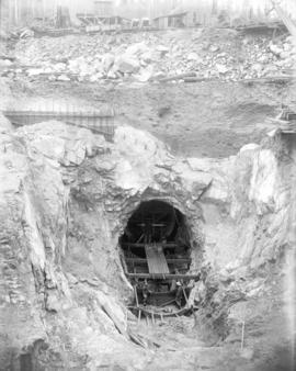 [Construction of east portal of hydraulic tunnel for Buntzen Lake Power Plant number two]