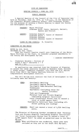 Special Council Meeting Minutes : June 24, 1976