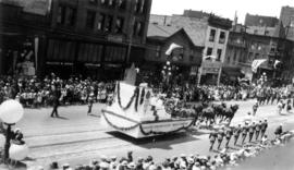 [The Vancouver Exhibition float in the Dominion Day Parade]