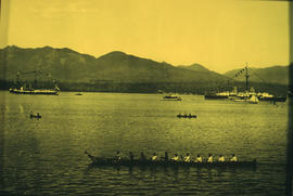 Harbour panorama [with] war canoe