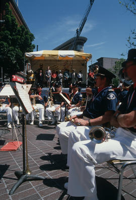 Fire Department Band gathered at Gastown Vancouver Day celebration