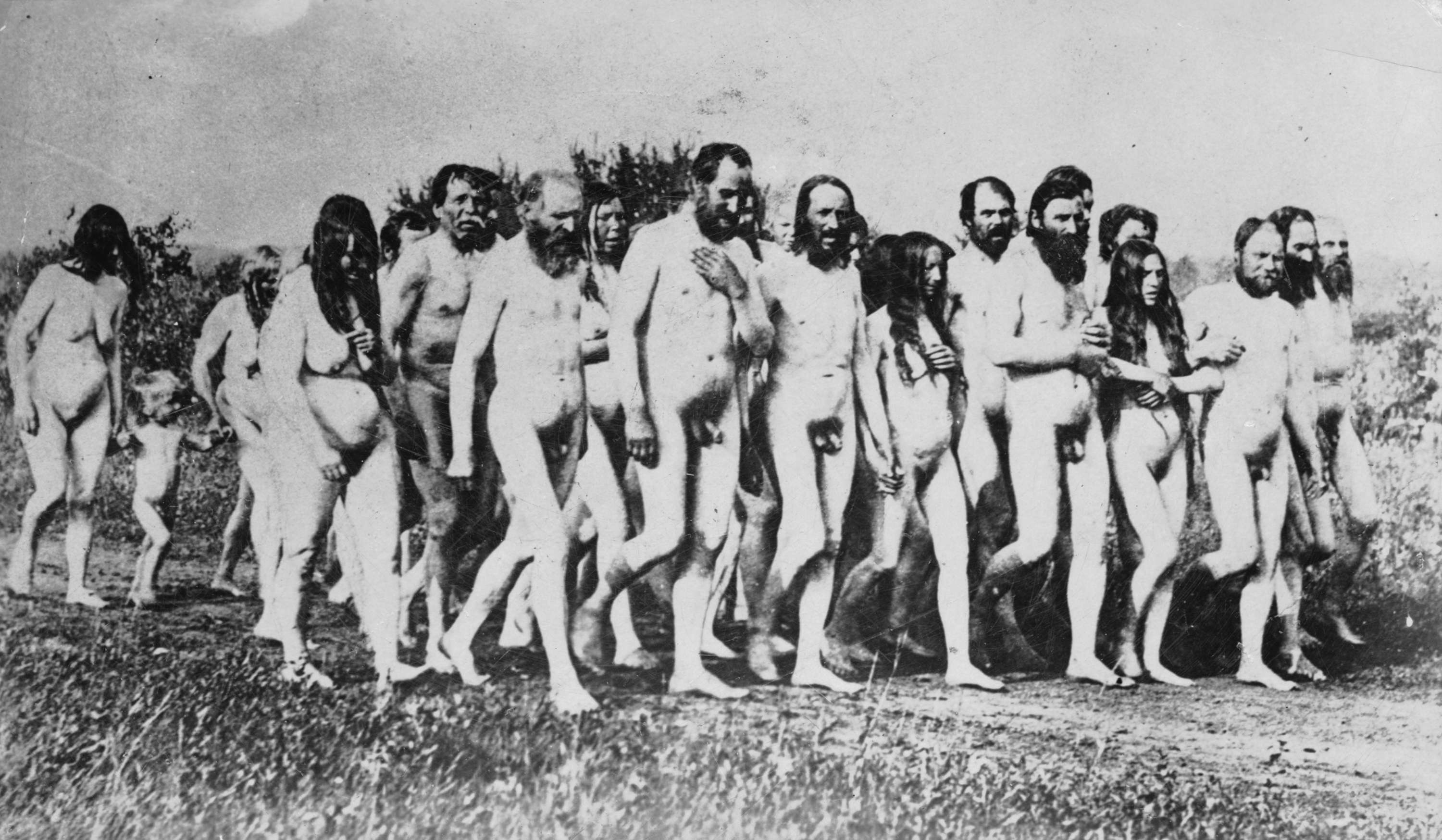 Group Of Nude Doukhobor Men, Women, And Children On A Dirt Road - City Of Vancouver -8268