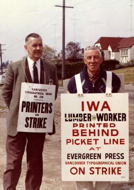 Tom Cumming and Andy Scott during strike at Evergreen Press, Marine Drive, Vancouver