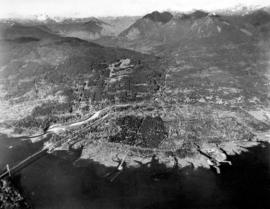 [Aerial view of] British Pacific Properties [and North Vancouver]