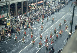 43rd Grey Cup Parade, on Granville Street at West Pender, Shriners marching band and spectators