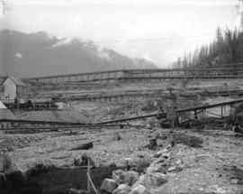 [Downstream side of partially constructed Coquitlam Dam]