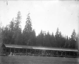 [Crowds in grandstand watching lacrosse game at Brockton Point grounds]