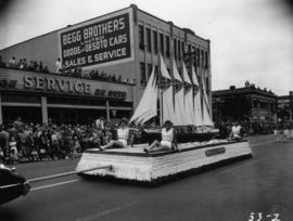 Bellingham Shipyards float in 1953 P.N.E. Opening Day Parade
