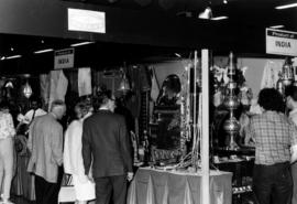 Display of products from India at 1970 P.N.E. International Bazaar