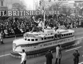 Grey Cup '64 : [British Columbia float in 1964 Grey Cup Parade]