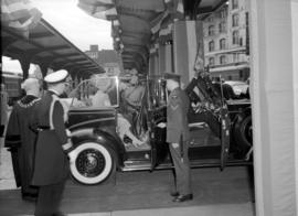 [King George VI and Queen Elizabeth in car at C.P.R. Station]
