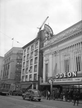 Erection of new sign [at] Odeon Theatre [on Hastings Street]