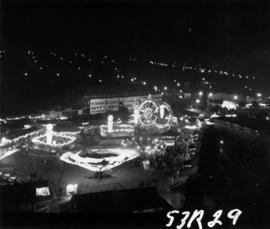 Aerial view of P.N.E. Gayway at night