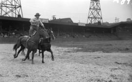 [Man riding two horses 'Roman' style at the rodeo at Callister Park]