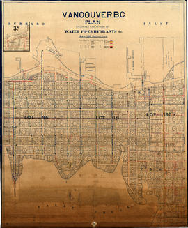 Vancouver, B.C. Plan showing location of water pipes, hydrants, etc. [Westminster Avenue to McLea...
