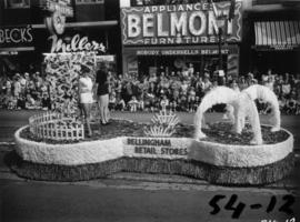 Bellingham retail stores float in 1954 P.N.E. Opening Day Parade
