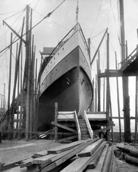 "[C.P.R. ""Princess Charlotte"" in dry dock before launching]"