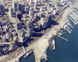 [Aerial view looking over the Downtown waterfront]