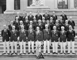 [Saba Brothers lawn bowling team on the steps of the courthouse]