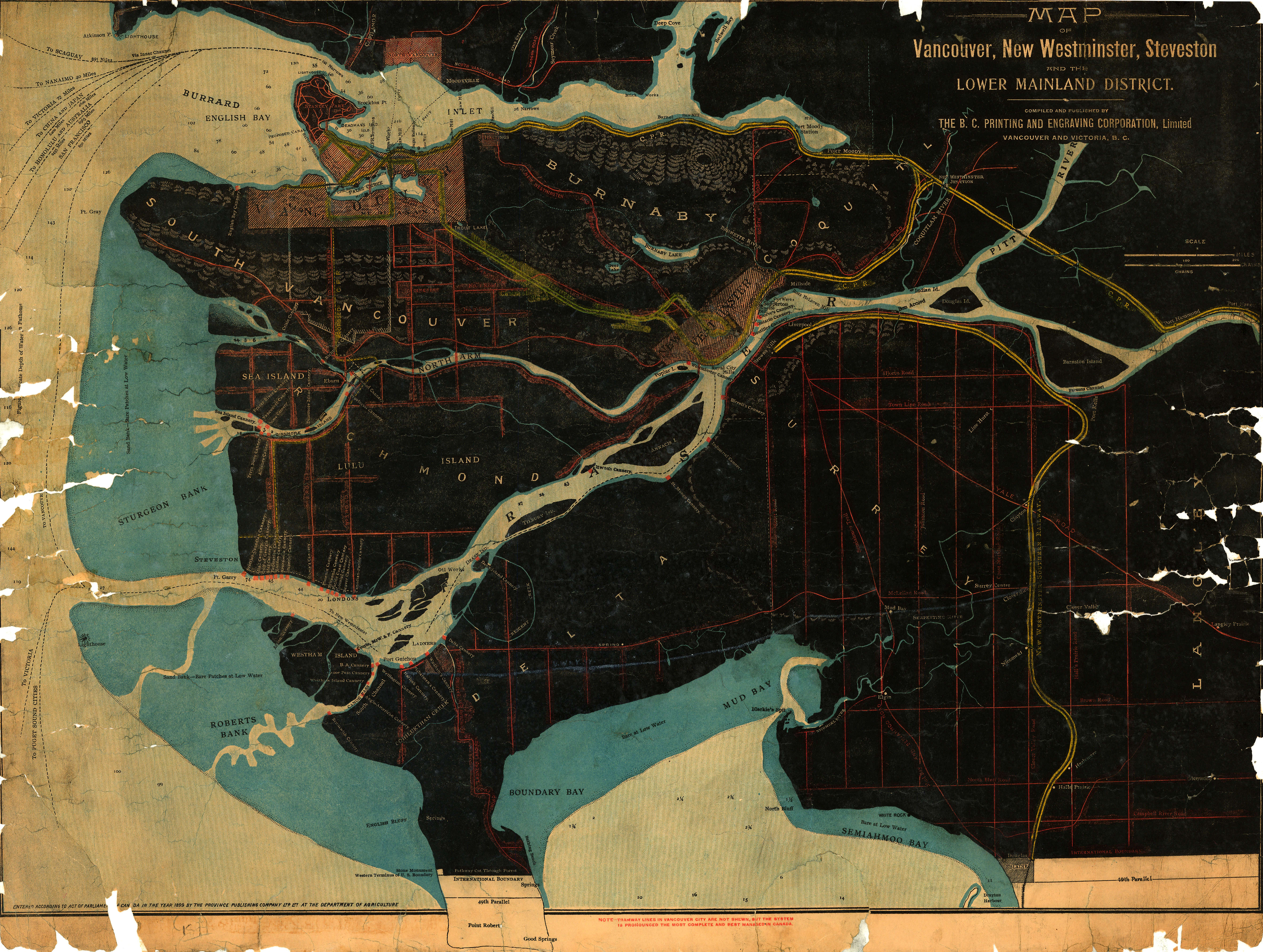 Map of vancouver new westminster steveston and the lower mainland open original digital object gumiabroncs Gallery
