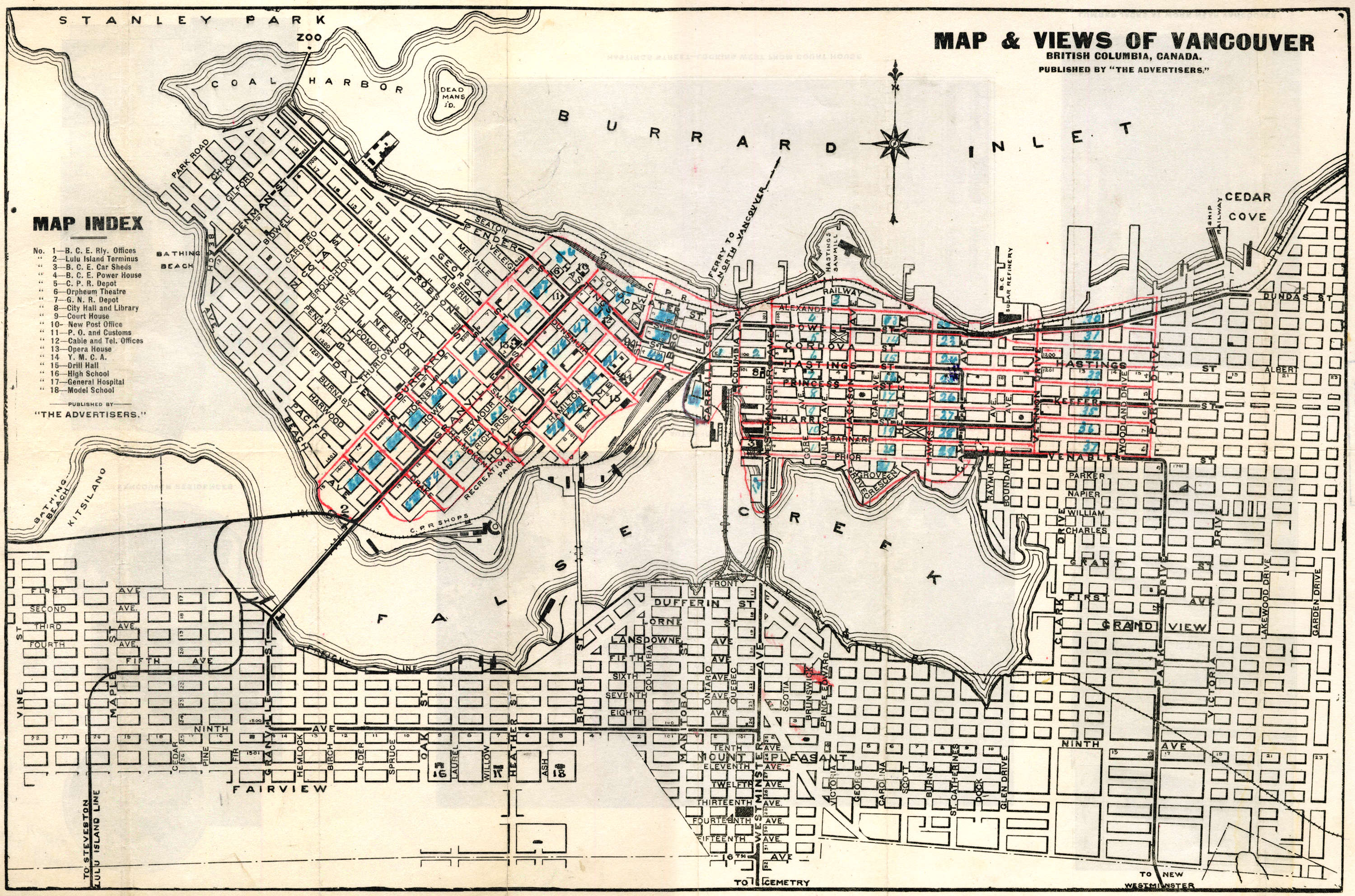 Map And Views Of Vancouver British Columbia Canada City Of