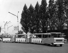 Trolley shuttle in front of Administrative building