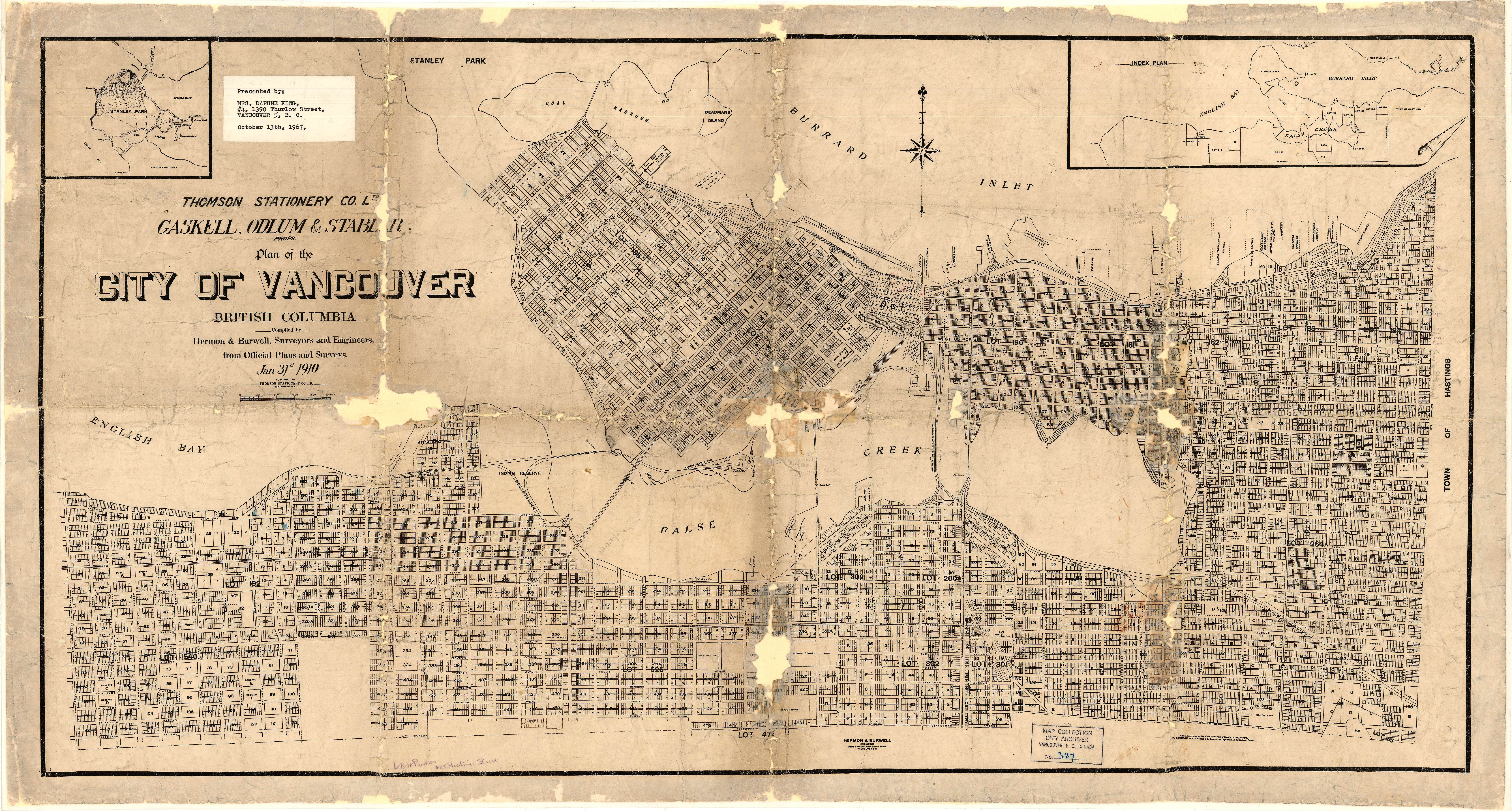 Plan Of The City Of Vancouver British Columbia City Of