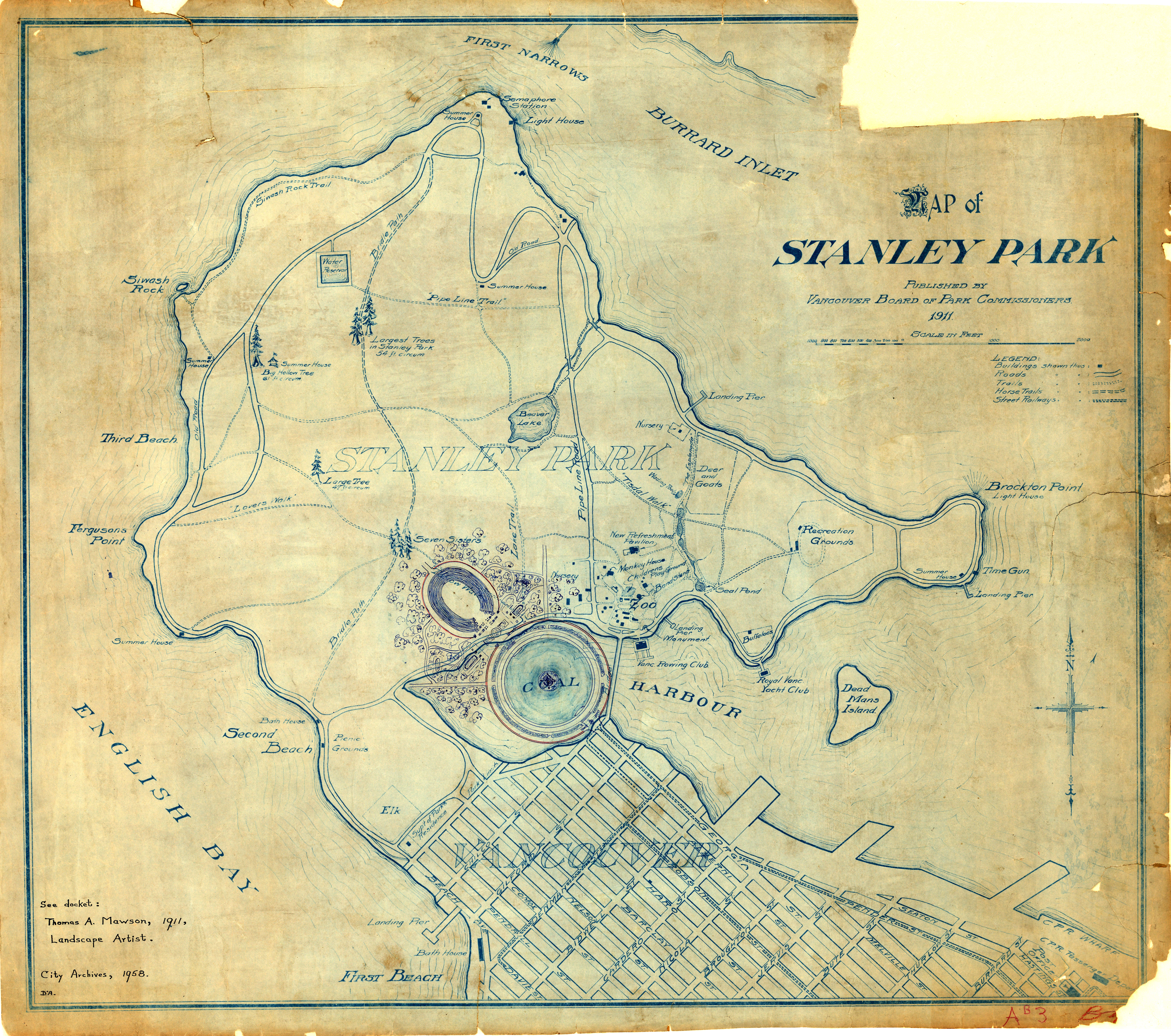 Map Of Stanley Park Site Plan City Of Vancouver Archives