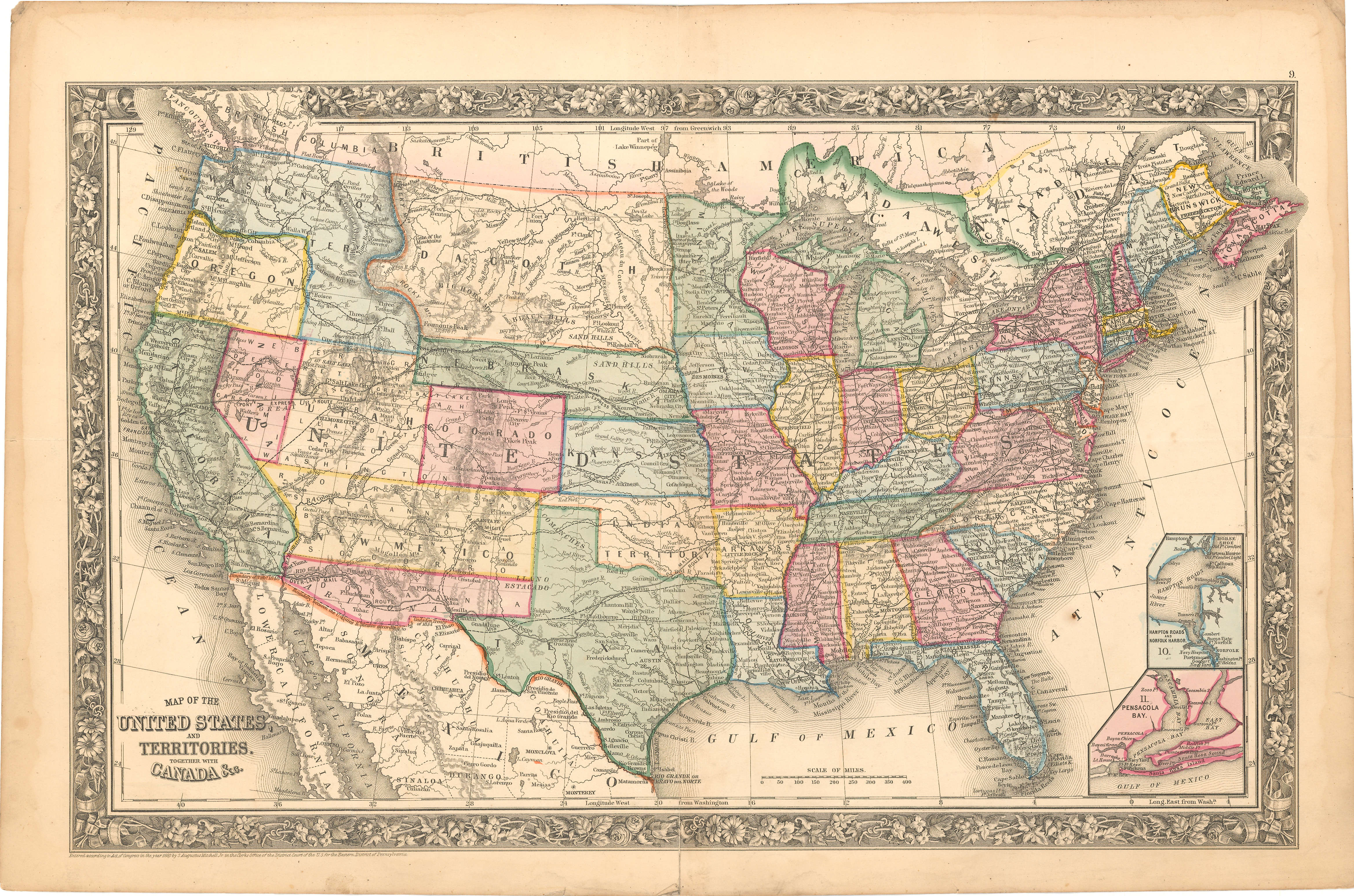 Map of the United States and territories together with ...