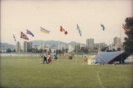 Scandinavian Festival flags and stage at Vanier Park