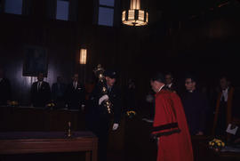 Inauguration, entering council, [Mayor Rathie] greeting the mace