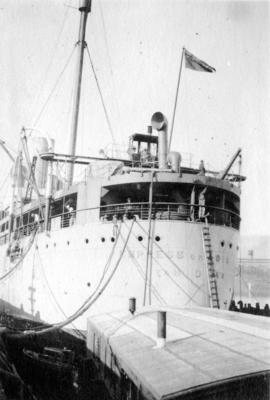"[Stern of the ""Empress of Asia"" at dock]"