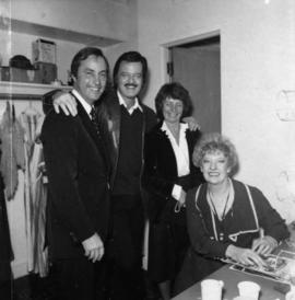 Bill Bennett, Robert Goulet, Audrey Bennett and actor playing the role of Miss Hannigan