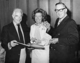 Victor Borge, Grace McCarthy and Hugh Pickett at the Parliament Buildings in Victoria, B.C.