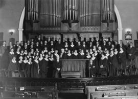 Wesley Choir's last stand - flashlight taken Sunday evening, August 31, 1930, following the ...