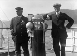 "[Captain Browne and Williams aboard S.S. ""Camosun""]"