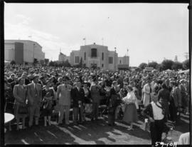 Crowd at Outdoor Theatre stage, likely during 1959 P.N.E. opening ceremonies, with Home Arts and ...