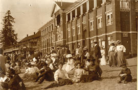 [A crowd on the beach in front of the English Bay bathhouse]