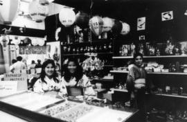"Young ladies wearing yukata in store selling Japanese goods, part of 1969 P.N.E. ""Fanfair to..."