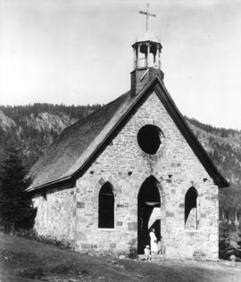 [Exterior of church at Comeakan Indian Reserve]