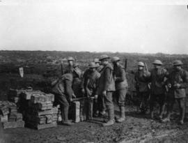 [Soldiers collect supplies at a bomb store on the Western Front]