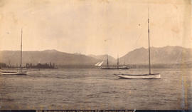 Burrard Inlet from Vancouver B.C. Showing Lion Peaks