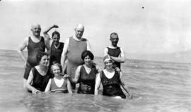 A group of Grand Trunk Pacific Railway employees at English Bay. Note the English bathing suits, ...