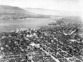 Vancouver [aerial view of Downtown, Vancouver waterfront and Burrard Inlet looking northeast]