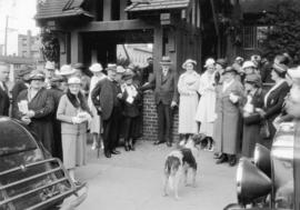[Parishioners assembled outside St. James' Church, 303 Cordova Street]