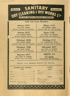 Sectional map and street directory of Vancouver, British Columbia : Sanitary Dry Cleaning and Dye...